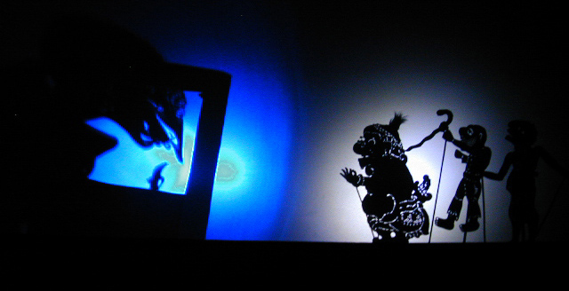 Shadow puppet shrinky on tv